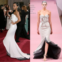 Free Shipping Zoe Saldana Oscars 2013 Sweetheart Beaded Appliques Satin Mermaid Court Train Red Carpet Celebrity Dress Designer
