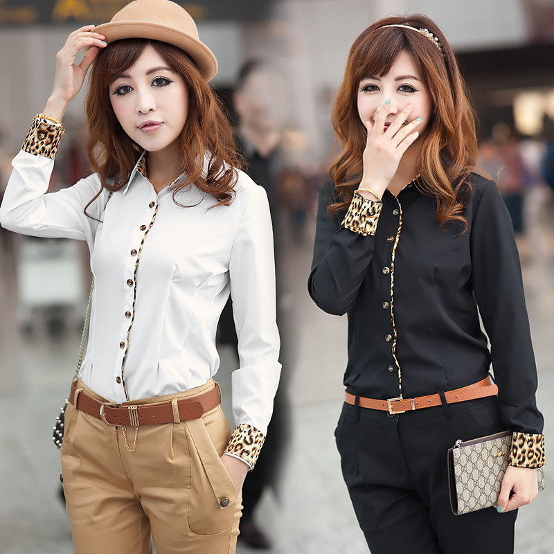 new 2014 autumn spring clothes leopard print color block decoration long-sleeve women's slim shirt big size free shipping(China (Mainland))