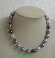 Rare 12-14 mm natural Tahitian black pearl necklace