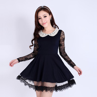 Spring and summer women's formal turn-down collar long-sleeve sweet gentlewomen lace preppy style one-piece dress