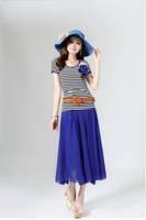 1171 2013 women's bohemia flower short-sleeve chiffon one-piece dress full dress piece set