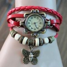 Min. 16 6 Colors Ladies Womens Retro Leather Bracelet Butterfly Decoration Quartz Luxury Vintage Wrist Watch Wristwatch