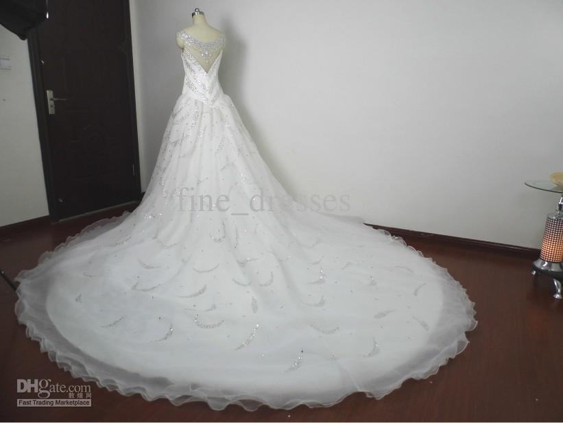 Wholesale - Luxury Royal Shiny A-line Sweetheart Strap Crystal Rhinestone 1 m Train 2013 Wedding Gown Dresses(China (Mainland))