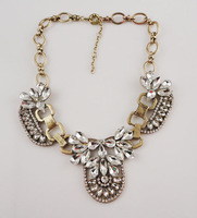 Free Shipping New Fashion Jewelry Luxury Multi Crystal Cluster Bib Statement Pendant Necklace