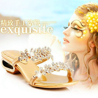 New arrival sweet rhinestone wedges sandals thick heel dragged lounger luxury rhinestone female slippers
