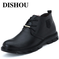 Winter thermal leather quality snow boots cowhide wool cotton-padded shoes high-top shoes men's boots black shoes boots