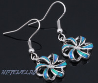Free shipping Wholesale & Retail Blue Fire Opal 925 Sterling Silver Dangle Earrings Fashionl Jewelry*Opal Jewelry OE053