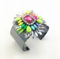 free shipping 2013 Design shourouk style multi color bracelet bangles gun black plated size 5.5cm