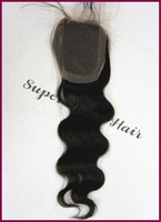 "Free Shipping 12-16"" #1b, 4x4"" Top Quality Malysian Hair Body Wave Lace Closure"