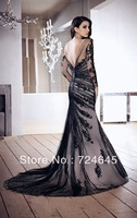 Elegant Balck Trumpet Style Backness Full Sheer Sleeve Evening Dresses Prom Dresses Fast Delivery