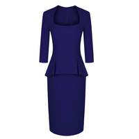 Autumn one-piece dress ol high quality square collar slim waist slim hip 9 ruffle sleeve length woolen one-piece dress