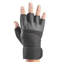 Double genuine leather male fitness sports semi-finger bodybuilding big slip-resistant wrist support gloves