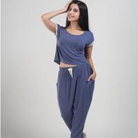 Modal short sleeve length pants female sleepwear mm harem pants plus size plus size