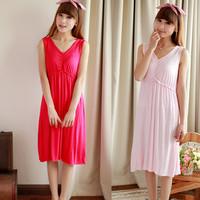 Sweet female sleepwear modal full dress plus size one-piece dress sleeveless nightgown