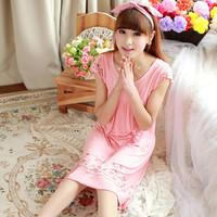 Summer women's modal nightgown loose one-piece dress short-sleeve sleepwear lounge