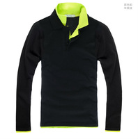 2013 New Autumn Korean Style Men's Patchwork Double Turn-down Collar Long Sleeve Cotton T-shirts Free Shipping LJ684