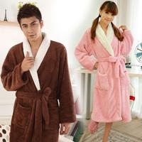 Autumn and winter thickening coral fleece robe bathrobes lovers sleepwear bathrobe long-sleeve lounge ,free shipping