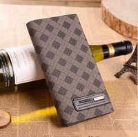 2013 han edition of the new grid luxury fashion men's genuine leather wallet, leather purse, men's leisure bag. Free shipping!