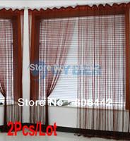 Cheap 2Pcs/Lot 300cm*300cm String Line Curtain, Window Curtain, Fringe Panel, Room Divider Wedding Drapery Wine Red 16633