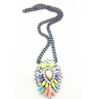 Free shipping 2013 design shourouk style colorful stone pendant necklace length 53cm