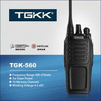licence free walkie talkie. TGK-560 black color UHF walkie talkie