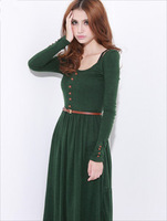 2012 Retro Elegant Womens Long Sleeve Crewneck Knitting Long Dress Free Size