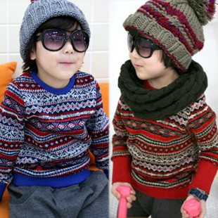 free shipping 2013 fashion 2012 autumn and winter decorative pattern o-neck child clothing baby boys sweater outerwear 4950