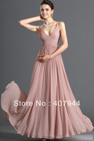 Free Shipping New Arrival Dusty Pink Chiffon V-Neck Floor Length A-line  Flowy Chiffon Prom Dress Lower Price
