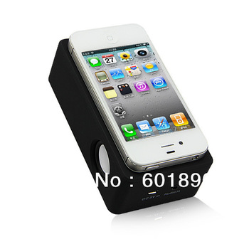 Wireless Mutual Induction Music Player LED Speaker Sound Box Black for iPhone 4 4S 5 Wholesale Free Shipping #160781