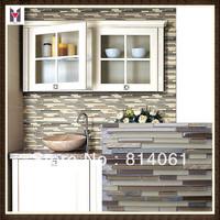Line tile mosaic/ backsplash dull polished glass mosaic tile/ glass mix stone mosaic tile