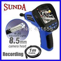 "3.5""LCD 1 Meter Cable Endoscope Borescope 8.5mm dia. Camera Video Sound Recording, DVR recording SD card free shipping"