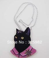 Wholesale 5Pcs/Lot Cool Black Cat Pendant Good Wood Wooden Chain Hip-Hop Pink Cowboy Necklace