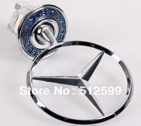 Brand new 2pcs CN drop shipping Metal Car Badge Mercedes BENZ w210 benz Hood Badge Head pharos Emblem Flexible 360 degree