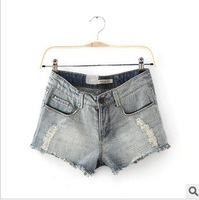 FREE SHIPPING, 2014 summer Ladies low waist skinny water hole in the white hot pants denim shorts