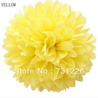 "YELLOW  8 Inch Tissue Paper Pom Poms 8""(about 20cm*36m) , 10pcs/opp bag With 12 Colors For PARTIES, Decorations, FREE SHIPPING"