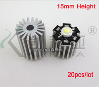 20 pcs Free shipping  High power 1W 3W LED Aluminum Heat sink,LED Radiator ,15mm height