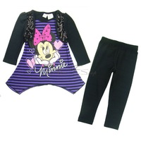 Girl Kid Minnie Mouse Long Sleeve Top Shirt Dress+Leggings Outfit Costume SZ 2-5