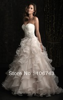 Free Shipping 2015 new sweetheart for this variation bridal gown belt rhinestone beading lace appliques custom wedding dresses