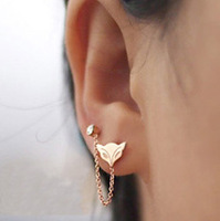 Wholesale Fashion Jewelry Fox Double Earrings for Women with Rose Gold Tatinium, Free Shipping!