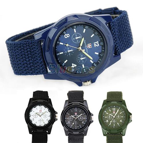 Solider Military Sports Style Wristwatch for Men Canvas Belt Fabric Strap Luminous Quartz Army Wrist Watches Fashion(China (Mainland))