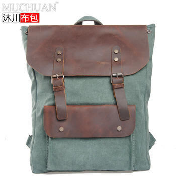 2013 New arrival canvas backpack fashion retro cow leather backpack men women's school travel rucksack totes bag