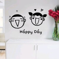 Removable Home stickers for bathroom ,  home decoration, wall sticker,  Happy Day middle size free Shipping