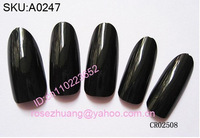FREESHIPPING 500 Oval balck french nail art tips full cover acrylic nails Retail SKU:A0247