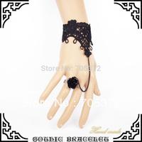 Fashion Jewelry Black Lace Flower Wrist Bracelet Royal Rose Vintage Bronze Chain Gothic Slave Finger Bands Bracelets Hand Outfit