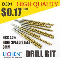 LICHEN D301 Diameter 3.0MM Twist Drell Bit & Metal Drilling & High Speed Steel HSS 42# Drill Bit