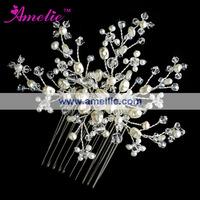 Free Shipping Pearl Flower Wedding Bridal Hair Comb