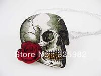 Wholesale 5Pcs/Lot Cool Rose Skull Pendant Good Wood Wooden Chain Hip-Hop Cowboy Necklace
