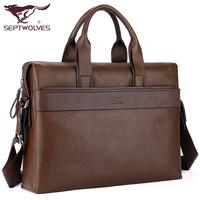 Male SEPTWOLVES handbag shoulder bag messenger bag cowhide man bag pvc male briefcase business bag