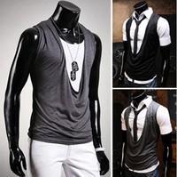 Free Shipping 2013 New Korean Men Slim Sexy Sleeveless Vest,Size M/L/XL Wholesale+Hot Sale.