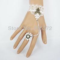 10Pcs/Lot Wholesale Rococco Style Gothic Bride & Bridesmaids Wedding Accessories White Lace Bracelet Chain Bracelets & Bangles